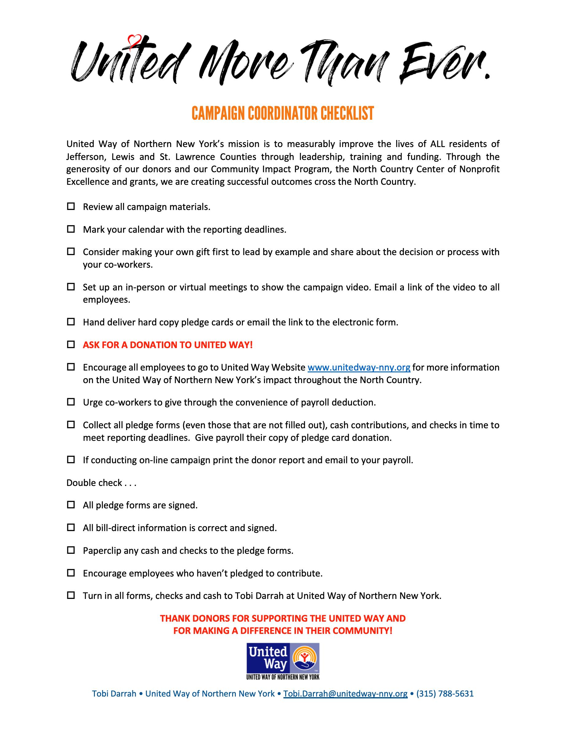 Campaign Coordinator Checklist